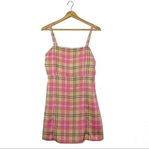 Monki ASOS Pink Plaid Mini Shift Dress EUC